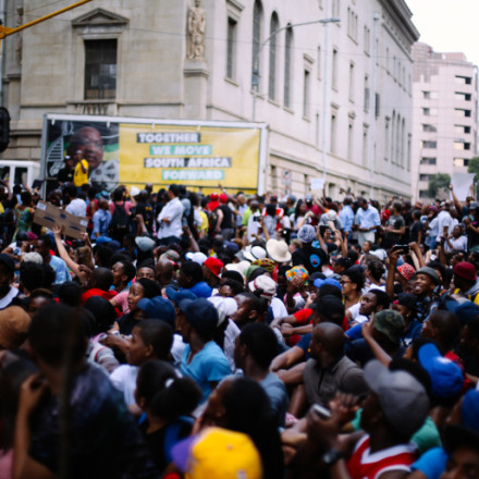 Students arrive at Luthuli House
